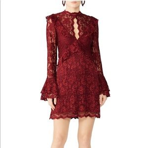 Saylor Red Floral Lace Holiday Dress
